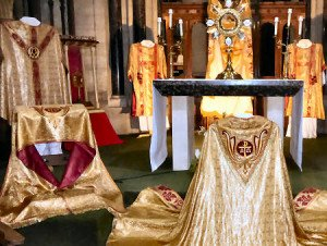 Vestments on display at the cathedral.